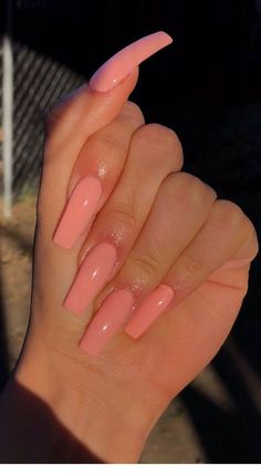 Ballerina Nägel - extra long peach coffin nails – Nails – – Nageldesign – Y - Acrylic Nails Coffin Short, Simple Acrylic Nails, Summer Acrylic Nails, Best Acrylic Nails, Simple Nails, Coffin Acrylics, Pink Coffin, Ballerina Acrylic Nails, Coffin Nails Ombre