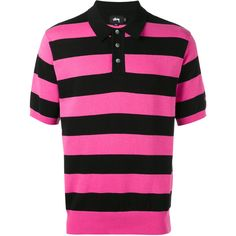 Stussy striped knit polo shirt ($119) ❤ liked on Polyvore featuring men's fashion, men's clothing, men's shirts, men's polos, mens striped shirt, mens polo shirts, mens knit shirts and mens striped polo shirts