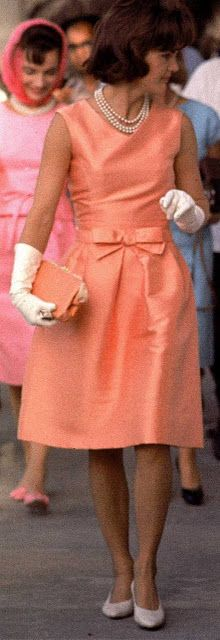 ~Mrs. Kennedy Coral Taffeta Dress With Bow | The House of Beccaria#