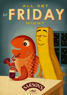 Sarson's vinegar is launching its first major ad campaign in a decade, with a series of retro-style press ads that humorously celebrate 'fish-and-chips Friday'. Food Advertising, Print Advertising, Creative Advertising, Print Ads, Advertising Campaign, Retro Ads, Vintage Advertisements, Vintage Ads, Vintage Posters