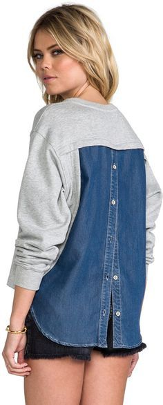 Crew Sale - Discounted Coats, Shoes, Bags - J.Crew Sale – Discounted Coats, Shoes, Bags Funktional Blue Hour Back Button Sweatshirt at Revolve Clothing Diy Clothes Refashion, Diy Clothing, Sewing Clothes, Remake Clothes, Diy Pullover, Umgestaltete Shirts, Sweatshirt Refashion, Altered Couture, Refashioning