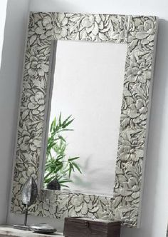 espejo tallado madera plata dorada ogos
