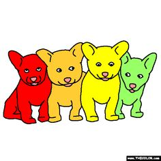 litter of puppies coloring page