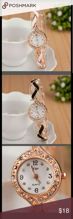 JW Luxury Watch New Luxury Brand JW Rose gold Crystal,Diamond Quartz Bracelete Watch, available in white & black,(PLEASE COMMENT YOUR FAVORITE COLOR BEFORE BUYING TO DO YOUR OWN LIST) Accessories Watches