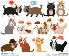 Cats and friends clip art for Personal and by Giftseasonstore, $2.00