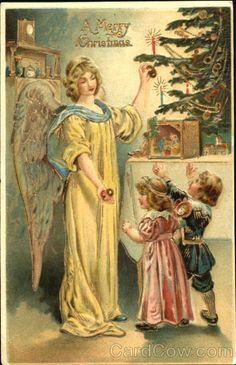 Vintage postcard - A Merry Christmas Angels Vintage Christmas Images, Old Fashioned Christmas, Christmas Scenes, Christmas Past, Victorian Christmas, Retro Christmas, Christmas Pictures, Christmas Angels, Xmas
