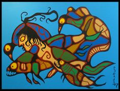 This is a style of painting that originated in Northern Ontario called Woodlands style. It has the thick lines of Haida art but shows more variety of colour. By Norvel Morrisseau. South American Art, Native American Art, Haida Art, Inuit Art, John The Baptist, Circle Of Life, Canadian Artists, Native Art, First Nations