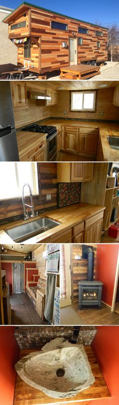 345 sq ft. Love the sink and the woodstove. The outside is unique which I enjoy. - LMP
