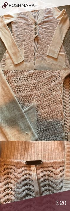 Free People 3 button light weight cardigan Free People off white with pink thread 3 button cardigan. Great for cool summer nights or over flannel this fall! Does show signs of wear but a lot life left! Free People Sweaters Cardigans