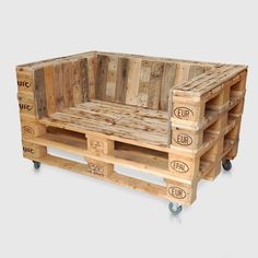 Pallet Sofa Chair For Sale. Modern industrial Style Furniture Idea for Upcycled, Recycled / Reclaimed Outdoor Patio Lounge or Reception Area
