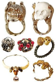 Delfina Delettrez unique bizarre skull skeleton gothic jewelry ring necklace bracelet