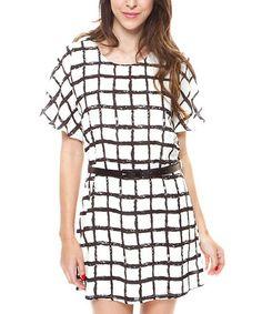 Look what I found on #zulily! Black & White Checker Dolman Dress - Women #zulilyfinds