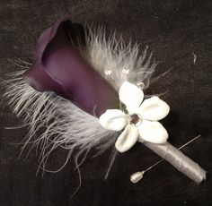 REAL Touch Calla Lily Flower and Feather by KristinDangerDesigns