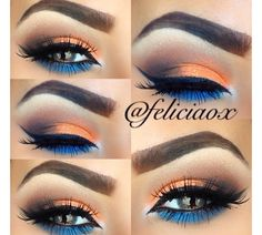 I am in love with this eyeshadow look! I love the way the orange and blue look together and she blended it perfectly. make up natural;make up glitter;make up catrina; Makeup Goals, Love Makeup, Makeup Inspo, Makeup Ideas, Makeup Kit, Makeup Primer, Makeup Designs, Gorgeous Makeup, Makeup Palette