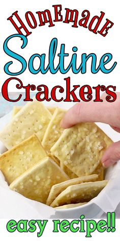 Homemade saltine cracker recipe, also called soda crackers, is quick and easy, tastes better than ANY store bought crackers ever, and best of all, are very inexpensive to make. Video included. #recipes #snacks #homemade #crackers #easy