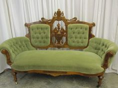 Antique Walnut Victorian Style Button Tuck Sofa Chaise