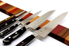 Rainbow Wood Magnetic Knife Strip--collection of easy woodworking projects