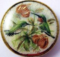 Satsuma Hummingbirds and Flowers Button