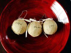 Burlap Christmas Ornaments $12