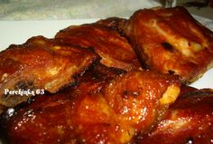 Spicy-sweet BBQ pork ribsA little sweet, a little spicy pork ribs literally melt in your mouth. Bbq Pork, Pork Ribs, Pork Chops, Pulled Pork, Grill Oven, Ribs On Grill, Slovakian Food, Pork Recipes, Cooking Recipes