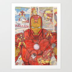 Vintage Comic Ironman Art Print by Dave Seedhouse - $20.00