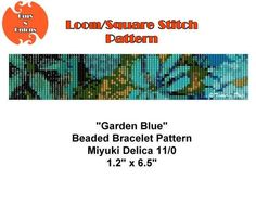 Garden Blue, Loom or Square Stitch Bracelet Pattern, Cuff Pattern, Instant Download