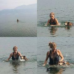 A swim with Jia Jia in cold Kalamalka Lake, Kelowna, B.C.