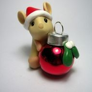 Mouse with Christmas ornament. Polymer clay