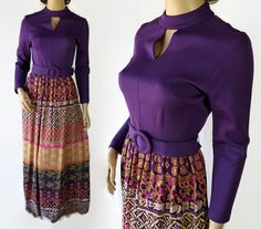 60s 70s Maxi Dress / Mod / Purple / Novelty Print / Hippie / Boho by PetticoatsPlus on Etsy