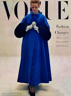 1947 Balmain coat on Vogue cover | Very similar to Vogue Paris Original pattern 1075 issued in 1950
