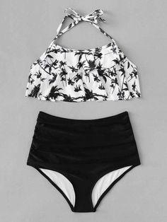 White Floral Flounce Halter Top Swimsuit Black Bikini Bottom Features Type: Sets Style: Cute Waist Size (cm): S: cm, M: cm, L:… Bathing Suits For Teens, Summer Bathing Suits, Swimsuits For Teens, Cute Bathing Suits, Bathing Suit Top, Halter Top Swimsuits, Cute Swimsuits, Bandeau Tops, Swimwear
