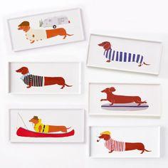 Dachshund plates! Claudia Pearson Dog Plates - Rectangle   West Elm @laytonsfavorite