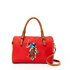Women s Top-Handle Handbags - US Polo ASSN Designer Handbags Womens Chester  Nylon Satchel Bag Red Multiple Color Available -- See this great product. 51a6a85ee44a8