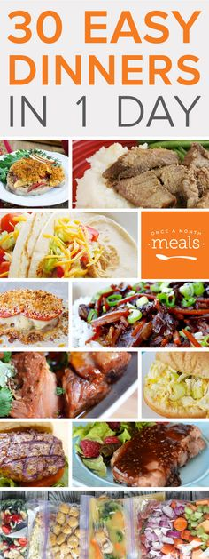30 Dinners in One Day- Make meal planning simple by planning all of your dinners for the whole month and freezeing them in ONE day! Freezer cooking saves both time and money!