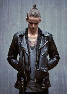 Black Leather Biker Jacket.