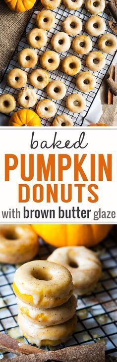 Baked Pumpkin Donuts with Brown Butter Glaze - favorite fall treat! Have these delicious donuts for breakfast or a weekend brunch with a hot mug of coffee. The entire family will love these pumpkin donuts! #donuts #pumpkin