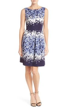 Tahari Floral Print Fit & Flare Dress (Regular & Petite) available at #Nordstrom
