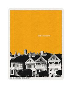 San Francisco, CA California  - 8x10 World Traveler Series Pop Art Print City Skyline - Available in 35 Colors - UCA028. $19.99, via Etsy.