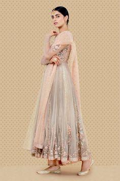 anju modi anarkali set w an embroidered grey net jacket over a chanderi gold foliage printed and pleated kurta. Comes with a blush dupion izhar and mokesh bet embroidered dupatta. Pakistani Bridal Dresses, Pakistani Outfits, Indian Dresses, Indian Outfits, Anarkali Dress, Anarkali Suits, Trendy Outfits, Fashion Outfits, Indian Designer Suits