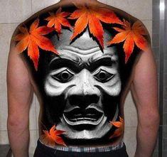 Japanese Mask Full Back Tattoo by Gura Art