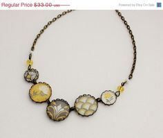 SALE- Modern Mustard Yellow and Gray Statement Necklace. Gift for her under 40 usd. by WearitoutJewelz on Etsy https://www.etsy.com/listing/107511718/sale-modern-mustard-yellow-and-gray
