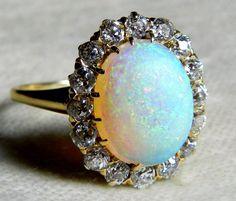 Antique 3 ct Opal Engagement Ring 1.6 cttw Mine Cut Diamond Australian Opal Ring 18K Rare Blue Black Opal Antique Ring on Etsy, $2,400.00