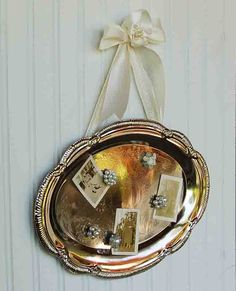 Re-Purposed Silver Plated Shabby Chic Magnet Board