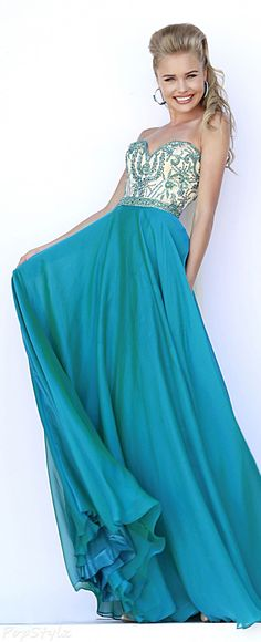 Sherri Hill 1947 Strapless Long Flowing Evening Gown