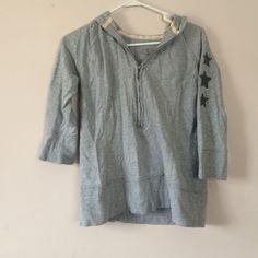 SO Wear it Declare It Zip Gray Hoodie (Size XL) Stretch. Size XL. Stars across Sleeve. 18in waist. Zip front. Made in Vietnam. Cute fray/fringe look!! SO  Tops Sweatshirts & Hoodies