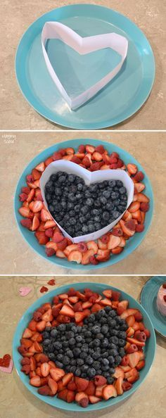 Easy Heart Fruit Platter for any kids' party or Valentine's Day! … Easy Heart Fruit Platter for any kids' party or Valentine's Day! Make a heart shaped fruit tray using a simple paper outline. Valentines Day Food, Kinder Valentines, Valentine Party, Valentinstag Party, Diy Snacks, Snacks Für Party, Fruit Snacks, Kids Fruit, Fun Fruit