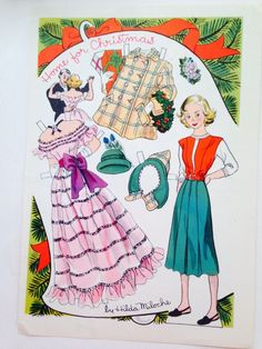 Hilda Miloche Paper Doll Page Dec 1949 Home for Christmas | eBay