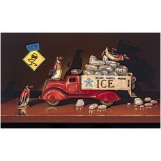 Ice Truck, Wooden Alphabet Blocks, Still Life Oil Painting, Pull Toy, Toy Trucks, Tin Toys, All Print, Vintage Toys, Decor Styles