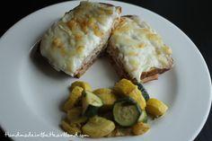 Easy Weeknight Dinner- Croque Monsieur & Rosemary Veggies! handmadeintheheartland.com
