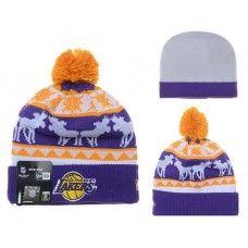 c1efb409e6e NBA LA LAKE BEANIES Fashion Knitted Cap Winter Hats Purple